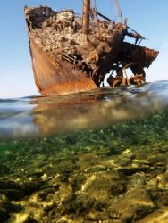 My best effort with the Maria Schroeder wreck in Nabq Park. Taken with flat port and E300. 